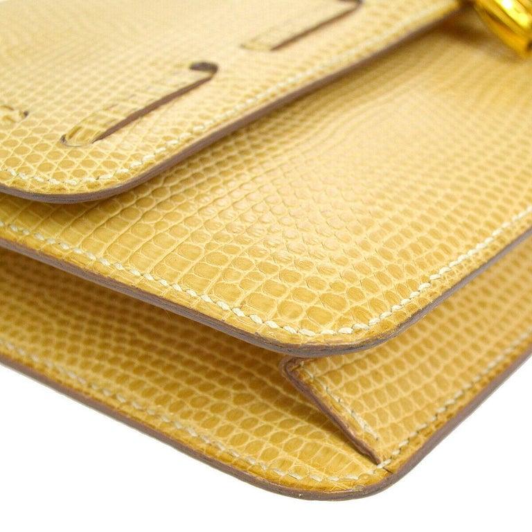 Hermes Rare Nude Ivory Lizard Tassel Envelope Clutch Evening Clutch Shoulder Bag For Sale 1