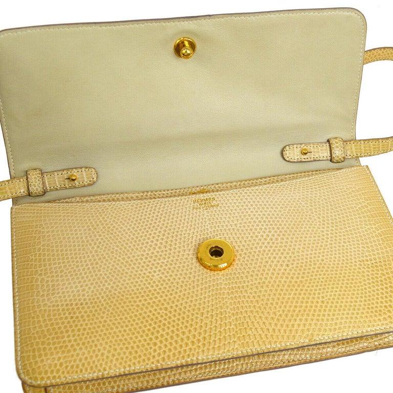 Hermes Rare Nude Ivory Lizard Tassel Envelope Clutch Evening Clutch Shoulder Bag For Sale 2