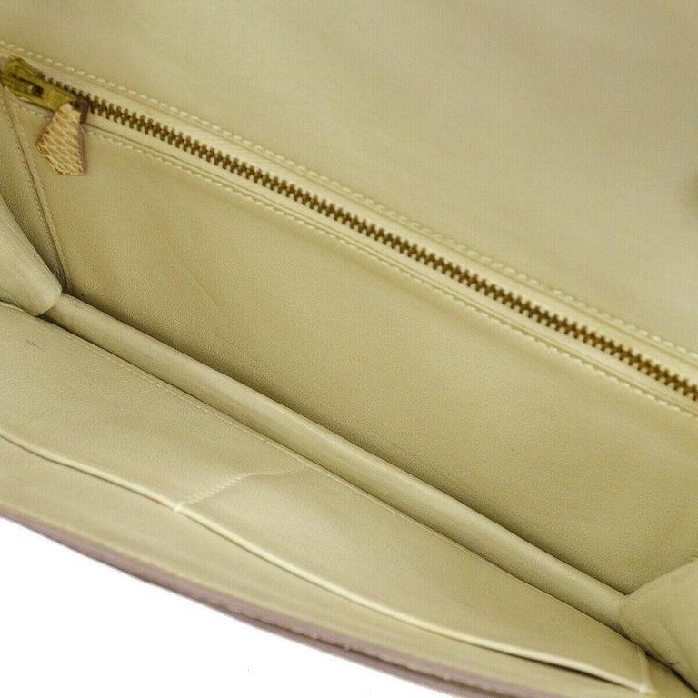 Hermes Rare Nude Ivory Lizard Tassel Envelope Clutch Evening Clutch Shoulder Bag For Sale 3