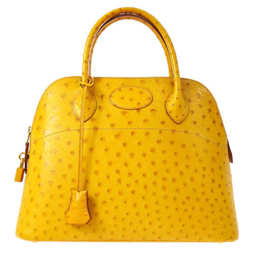 Hermes Rare Ostrich Yellow Travel Gold Top