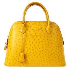 Hermes Rare Ostrich Yellow Travel Gold Top Handle Satchel Shoulder Tote Bag