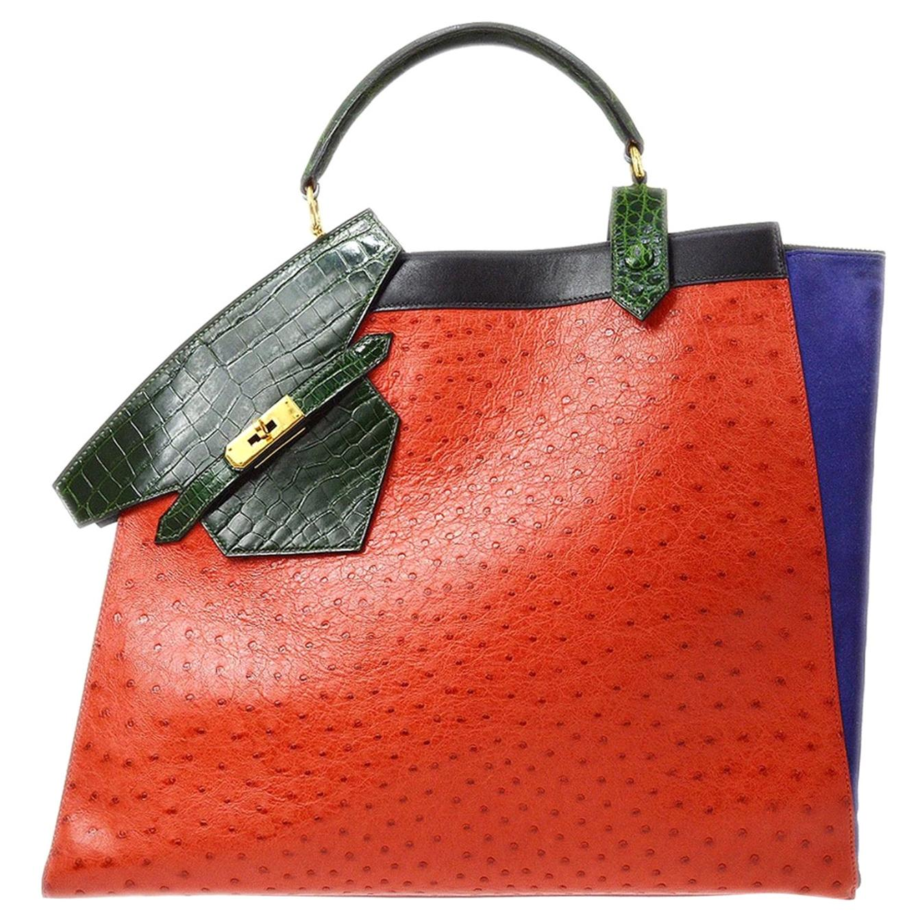 Hermes Rare Red Green Ostrich Crocodile Suede Exotic Top Handle Travel Tote Bag