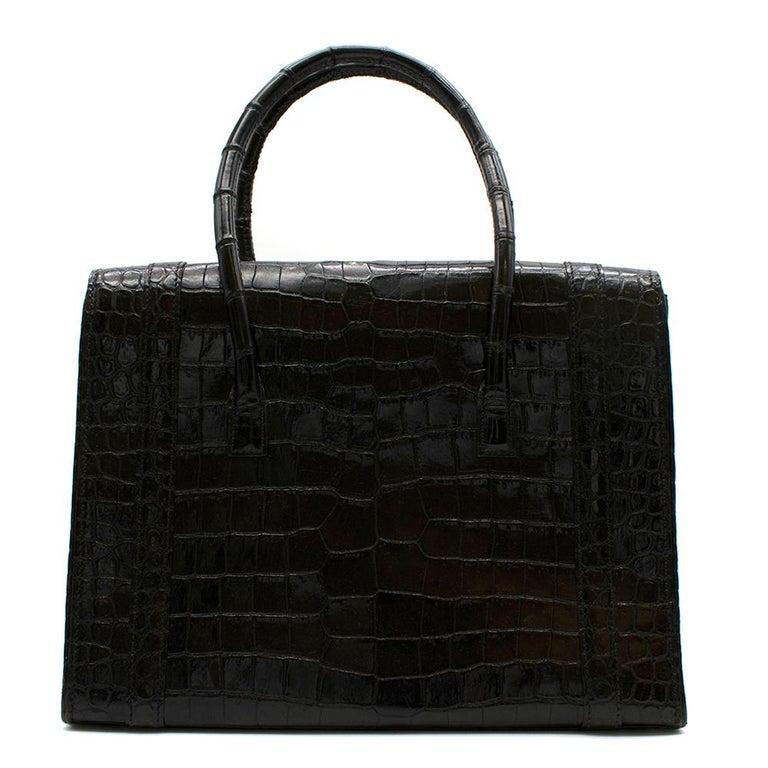 Black Hermes Rare Vintage Drag Bag in Lisse Niloticus Crocodile GHW  For Sale