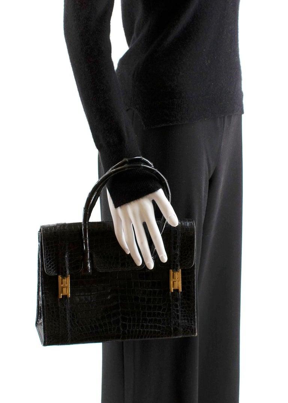 Women's or Men's Hermes Rare Vintage Drag Bag in Lisse Niloticus Crocodile GHW  For Sale