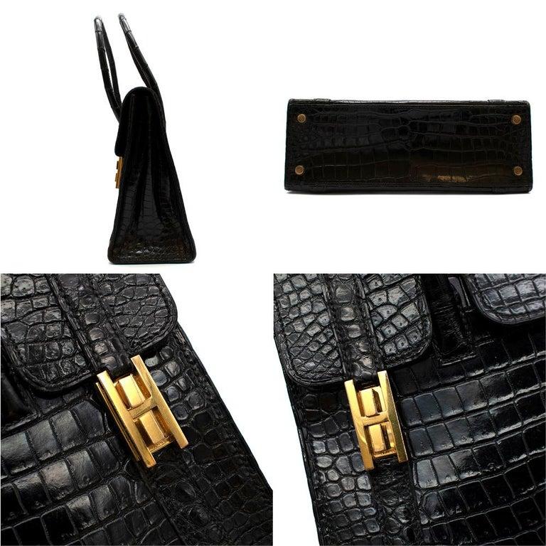 Hermes Rare Vintage Drag Bag in Lisse Niloticus Crocodile GHW  For Sale 1