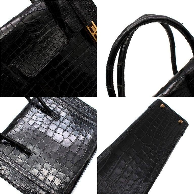 Hermes Rare Vintage Drag Bag in Lisse Niloticus Crocodile GHW  For Sale 2