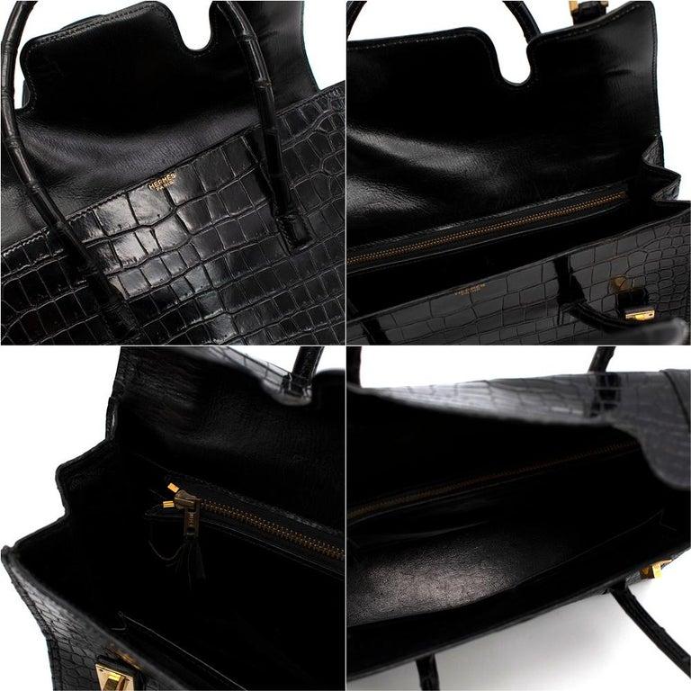 Hermes Rare Vintage Drag Bag in Lisse Niloticus Crocodile GHW  For Sale 3