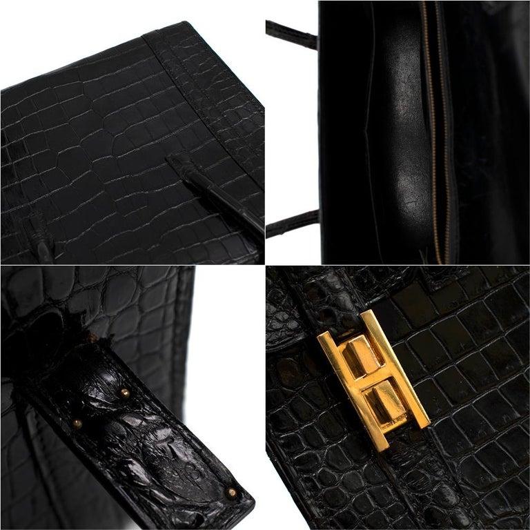 Hermes Rare Vintage Drag Bag in Lisse Niloticus Crocodile GHW  For Sale 4