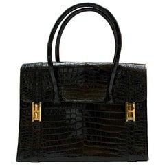 Hermes Rare Vintage Drag Bag in Lisse Niloticus Crocodile GHW