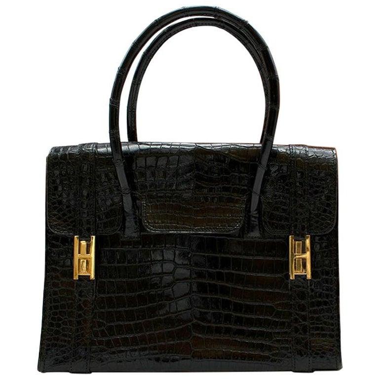 Hermes Rare Vintage Drag Bag in Lisse Niloticus Crocodile GHW  For Sale