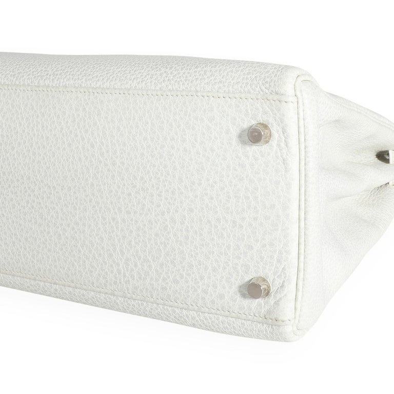 Hermès Rare White Dalmatian Retourne Kelly 35 PHW In Excellent Condition For Sale In New York, NY