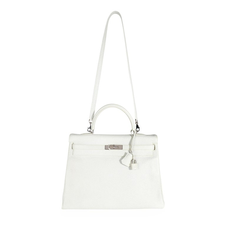 Women's Hermès Rare White Dalmatian Retourne Kelly 35 PHW For Sale