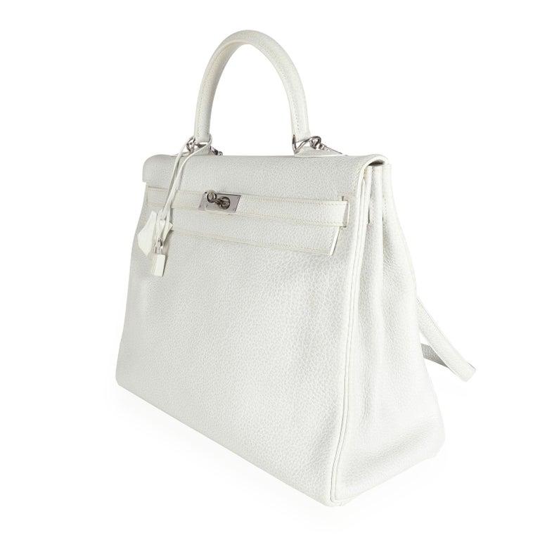 Hermès Rare White Dalmatian Retourne Kelly 35 PHW For Sale 3