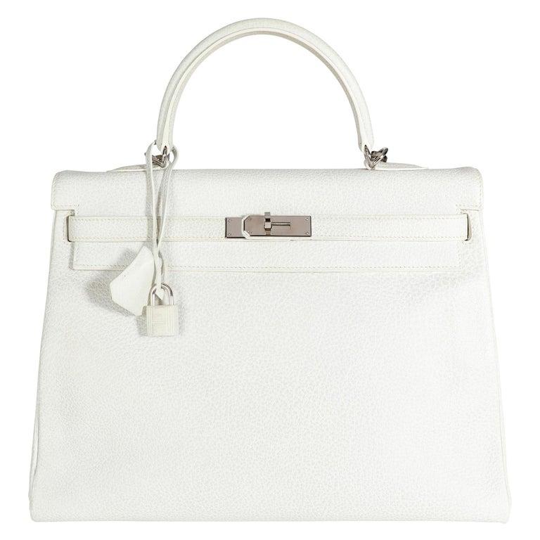 Hermès Rare White Dalmatian Retourne Kelly 35 PHW For Sale
