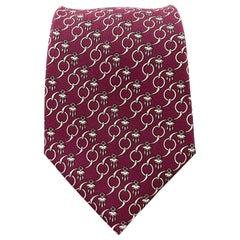 HERMES Raspberry Burgundy Interlock Geometric Tassel Print Silk Tie 7191 UA