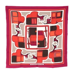 Hermes Raspberry Les Coupes Silk Twill Scarf