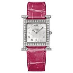 Hermès Raspberry X Silver 26mm H Alligator Diamond Hh1.530 ) 11hr0212 Watch