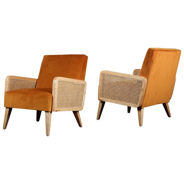 Two Hermes Rattan Armchairs French Modern Armchair In