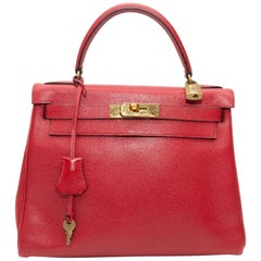 Hermes Red 1989 Courchevel Retourne Kelly Bag