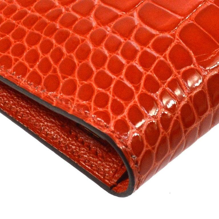 Women's Hermes Alligator Exotic Leather 'H' Logo Gold Evening Clutch Wallet Bag in Box For Sale