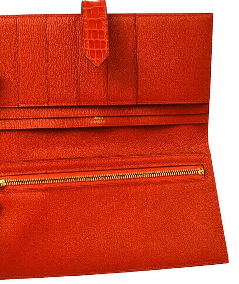 Hermes Alligator Exotic Leather 'H' Logo Gold Evening Clutch Wallet Bag in Box For Sale 1