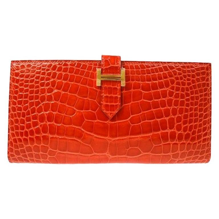 Hermes Alligator Exotic Leather 'H' Logo Gold Evening Clutch Wallet Bag in Box For Sale