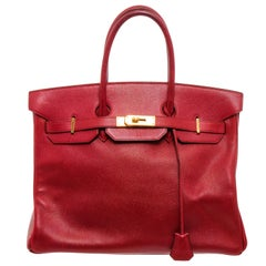 Hermès Red Ardennes Leather Birkin 35cm Bag GHW