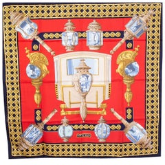 Hermes red & blue FEUX DE ROUTE 90 silk twill Scarf