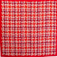 Hermes red BOLDUC AU CARRE 90 Scarf silk ROUGE BORDEAUX GRIS