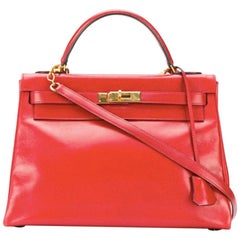16cee276394d Hermes Red Box Calf Kelly 32cm Tote Bag