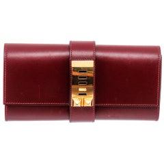 Hermes Red Box Leather Medor 23 Clutch Bag