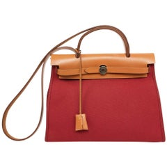 Hermes Red Canvas Herbag Bag