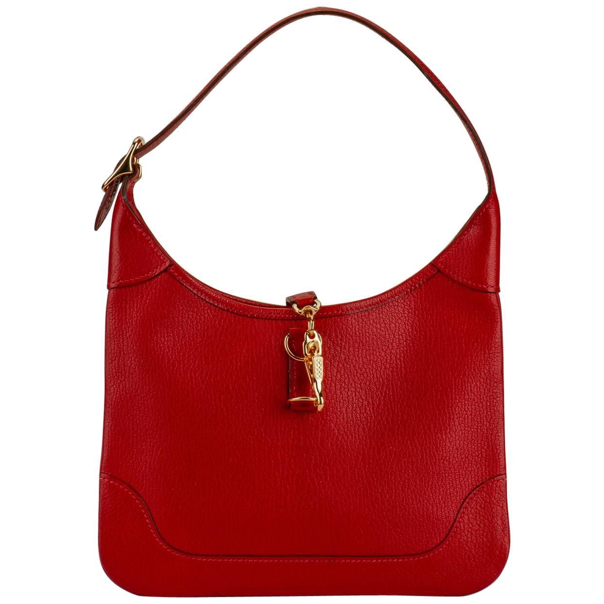 Hermes Red Chevre Mini Trim Bag