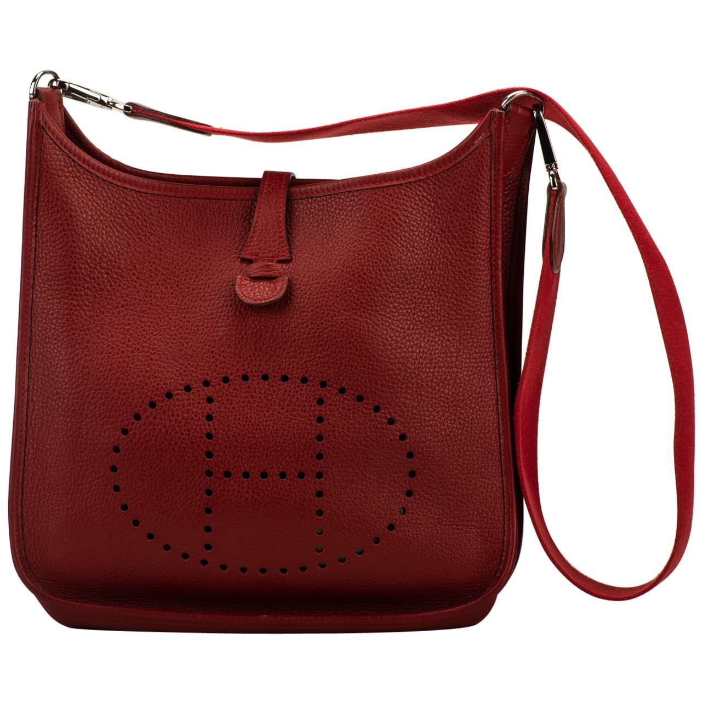 Hermès Red Clemence PM Evelyne Bag