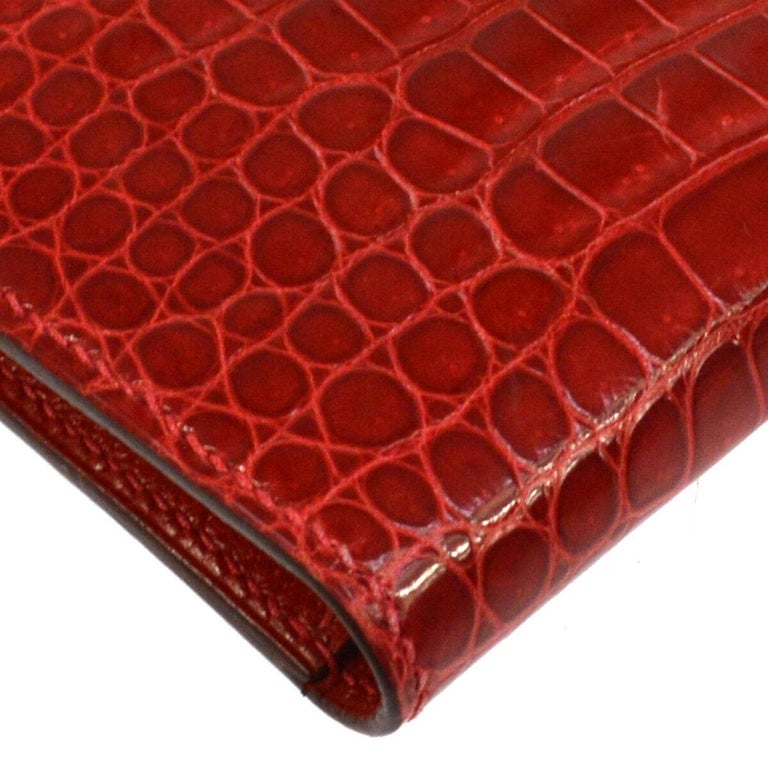 Hermes Red Crocodile Exotic Leather Diamond 'H' Gold Envelope Clutch Wallet For Sale 1
