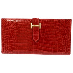 Hermes Red Crocodile Exotic Leather Diamond 'H' Gold Envelope Clutch Wallet