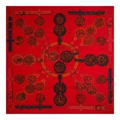 Hermes red CUIVERIES 90 SURTEINT silk twill Scarf