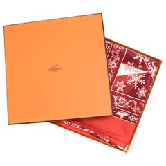 Hermes Red 'Edelweiss' Silk Scarf 90