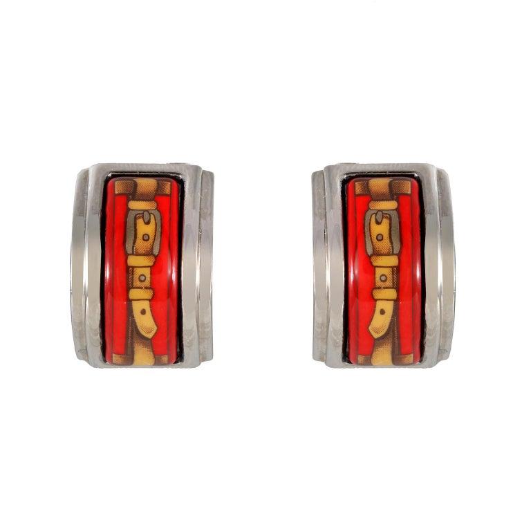 Women's Hermès Red Enamel Earrings For Sale