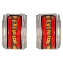 Hermès Red Enamel Earrings