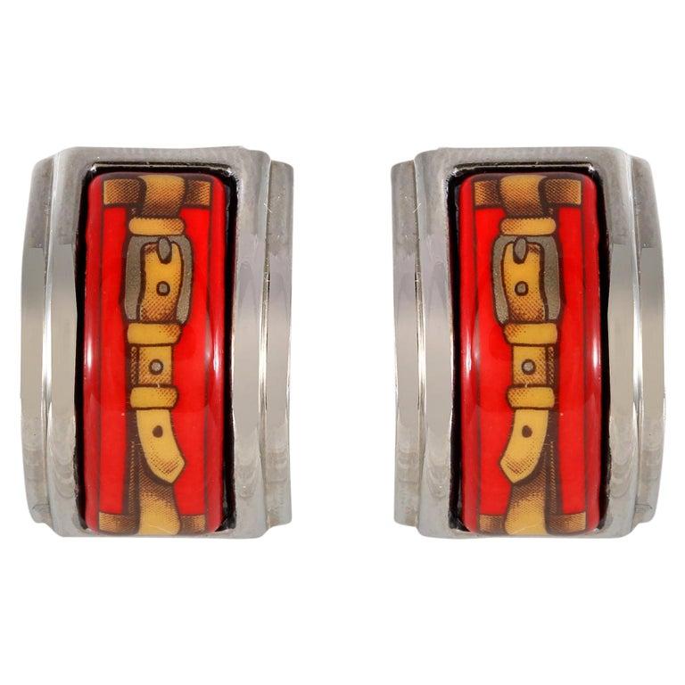 Hermès Red Enamel Earrings For Sale