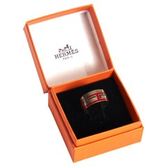 Hermès Red Enamel & Sterling Silver Ring in Box Size 54