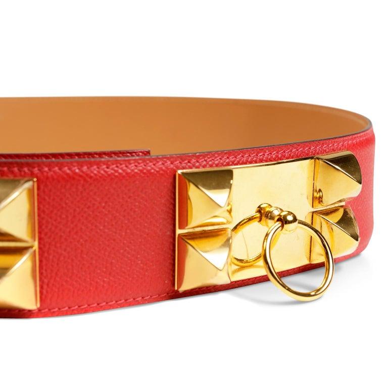 Hermès Red Epsom Leather Medor Belt size 80 For Sale 5