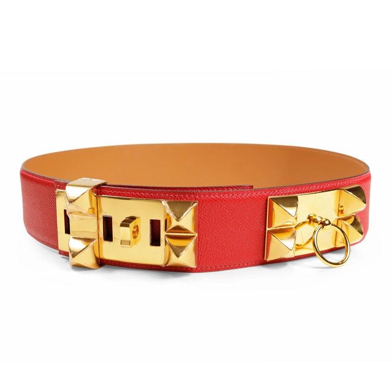 Hermès Red Epsom Leather Medor Belt size 80 For Sale 6