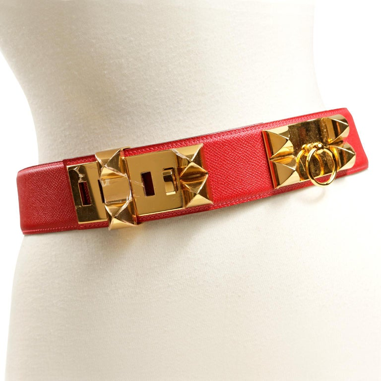 Orange Hermès Red Epsom Leather Medor Belt size 80 For Sale