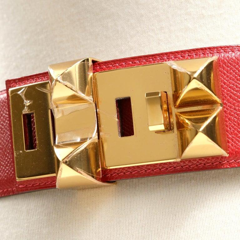 Hermès Red Epsom Leather Medor Belt size 80 For Sale 1