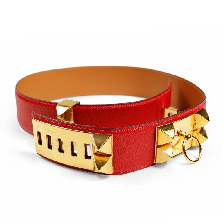 Hermès Red Epsom Leather Medor Belt size 80 For Sale 2
