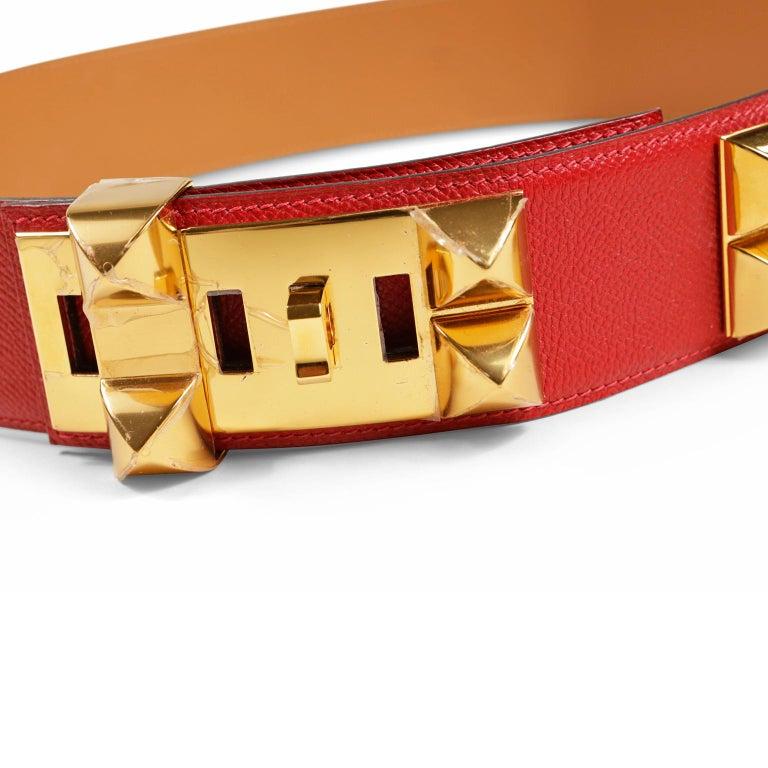 Hermès Red Epsom Leather Medor Belt size 80 For Sale 4