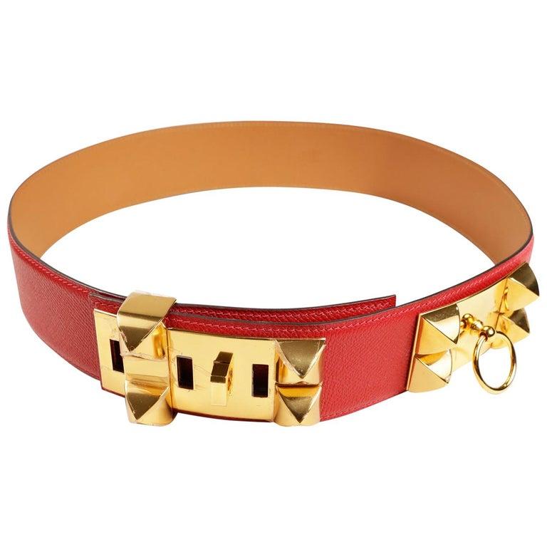 Hermès Red Epsom Leather Medor Belt size 80 For Sale