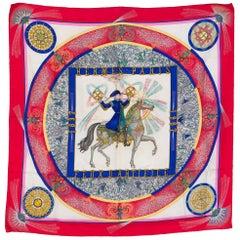 Hermes Red Feu d Artifice Silk Scarf by M. Duchêne 1987s